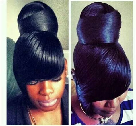 side bangs with bun bun with side swooped bangs hair styles pinterest