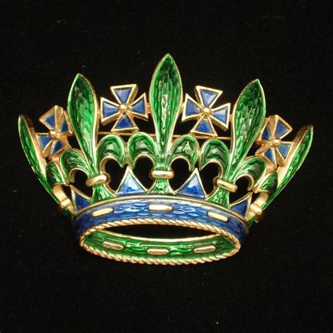 Crown Brooch crown brooch pin enamel vintage trifari large from
