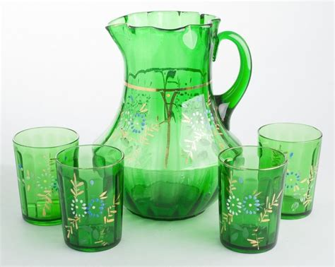 Flower Pitcher Set antique green glass water pitcher 4 tumblers set