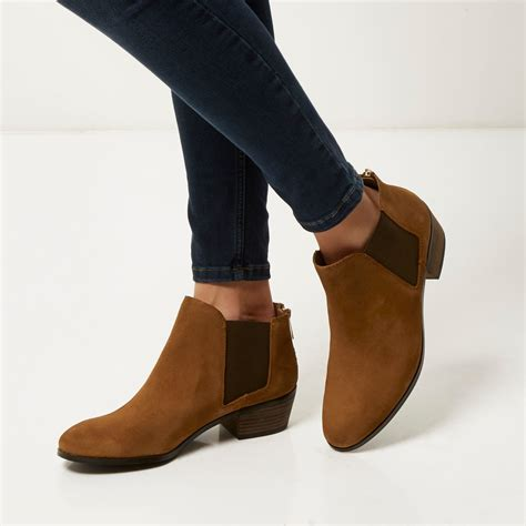 river island suede low ankle boots in brown lyst