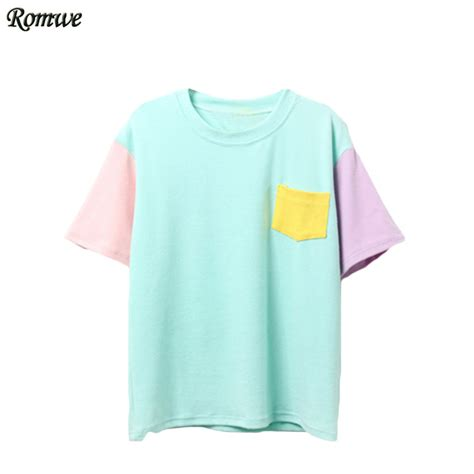 color block shirt romwe casual korean style summer shirts new arrival