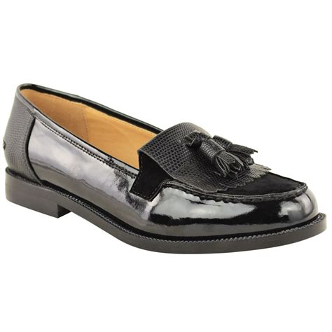 office shoes womens flat casual office patent faux leather