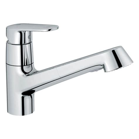 grohe kitchen faucet installation shop grohe europlus starlight chrome 1 handle pull out