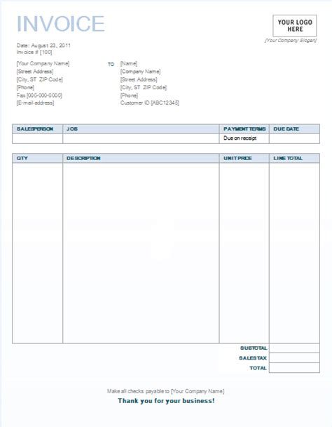 invoices templates word blank invoice template 10