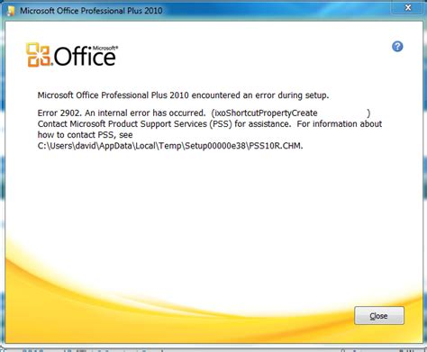 Windows Microsoft Office Error When Installing Microsoft Office 2010 Windows 7