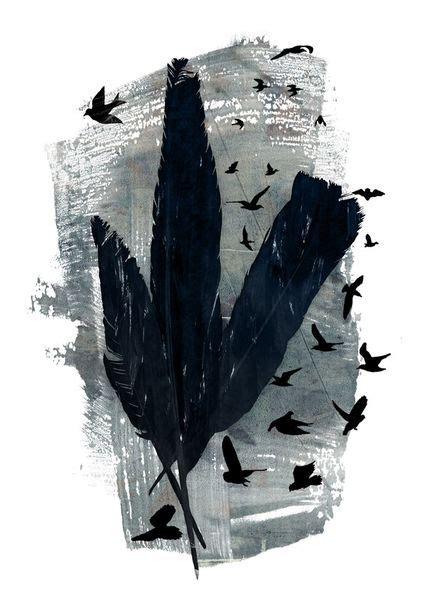 Mixed Poster 3 quot mixed feathers quot mixed media als poster und kunstdruck