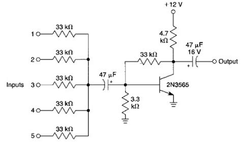 basic bipolar transistor mixer circuit simple audio mixer electronic project circuit diagram azim1 circuit diagram