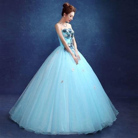 Blue And Flower Flowers S M L Dress 43431 strapless appliques flower grey sky blue wedding dress