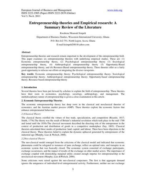 entrepreneurship research paper entrepreneurship theories and empirical pdf