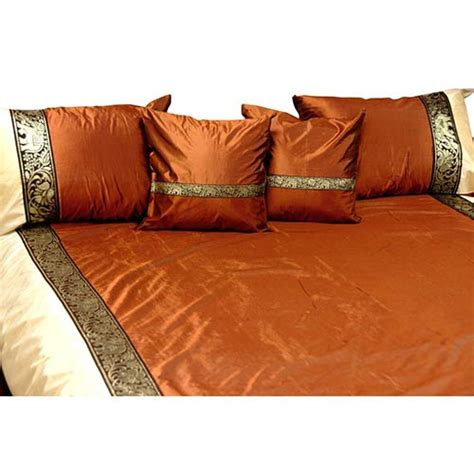 Set Taffeta Bordir silk bedding bronze silk thai elephant bedding