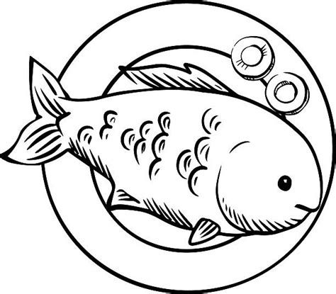 cooked fish coloring pages royalty free drawing of fried fish garnished clip art
