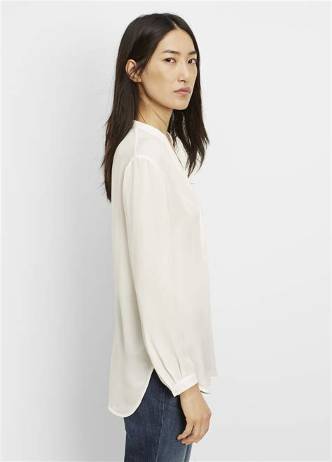 vince silk sleeve popover blouse in lyst