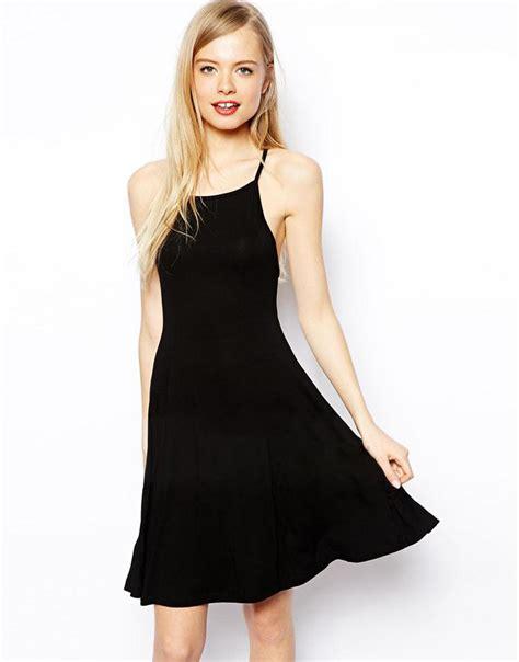 european cross sling simple black halter dress