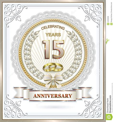 15th anniversary stock vector image 64936098