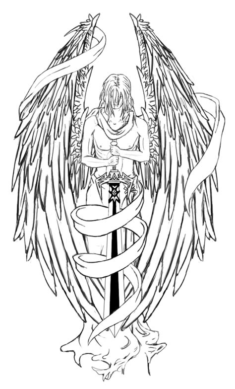 tattoo banner png angel with large sword and banner tattoo design
