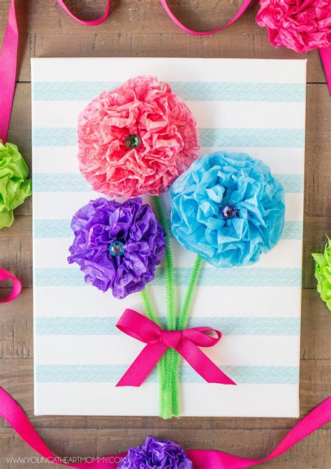 canvas crafts for tissue paper flower bouquet canvas 183 how to make wall