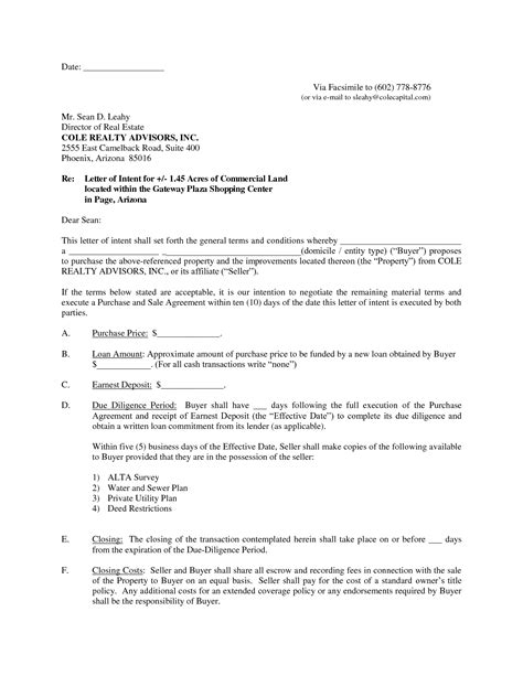 Letter Of Intent To Purchase Commercial Land Best Photos Of Letter Of Intent Property Letter Of Intent Template Real Estate Sle Letter
