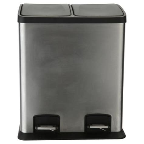 2 section kitchen bin buy tesco 24l stainless steel rectangular two section