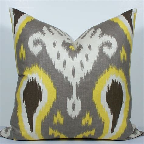 grey yellow pillows gray and yellow ikat pillow decorative pillow cover