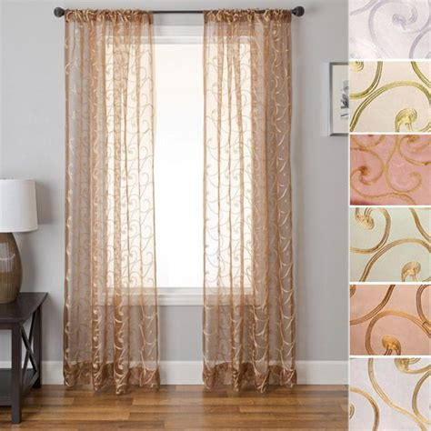silk sheer curtains 84 quot long ezra elegant sheer faux silk rod pocket curtain panel