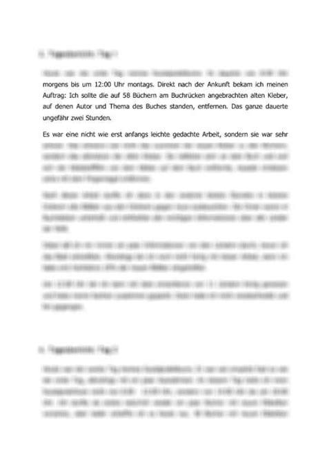 Berichtsheft Vorlage Praktikum Pdf Tagesberichte Zum Sozialpraktikum In Der B 252 Cherei Bericht