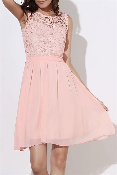 www dress sleeveless round collar club dress in light pink