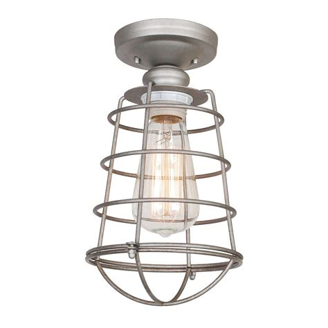 design house lighting products design house ajax collection 1 light galvanized indoor ceiling mount 519686 the home depot
