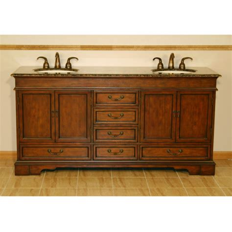 72 Inch Double Sink Vanity in Antiqued Brown with Granite