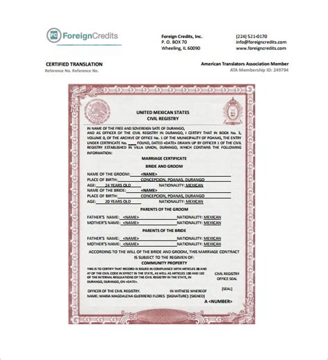 marriage certificate translation template certificate template 62 free printable word excel pdf