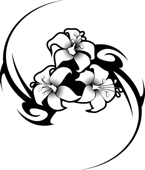 tribal hawaiian flower tattoo working sheet of a hibiscus flower tribal design