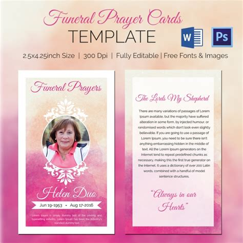 free printable prayer cards template 11 funeral card templates free psd ai eps format