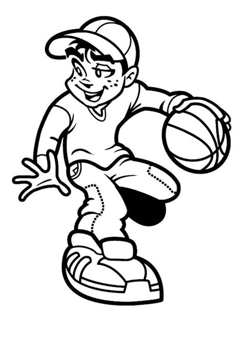 coloring page of boy playing basketball boy playing basketball cliparts co
