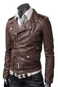 Leather Jacket Mens Vintage Biker Belted Rider Pocket Slim Fit