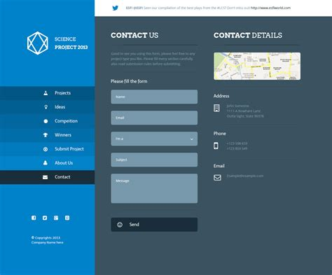 Science Project Psd Template By Azyrusmax Themeforest Contact Us Page Template Html
