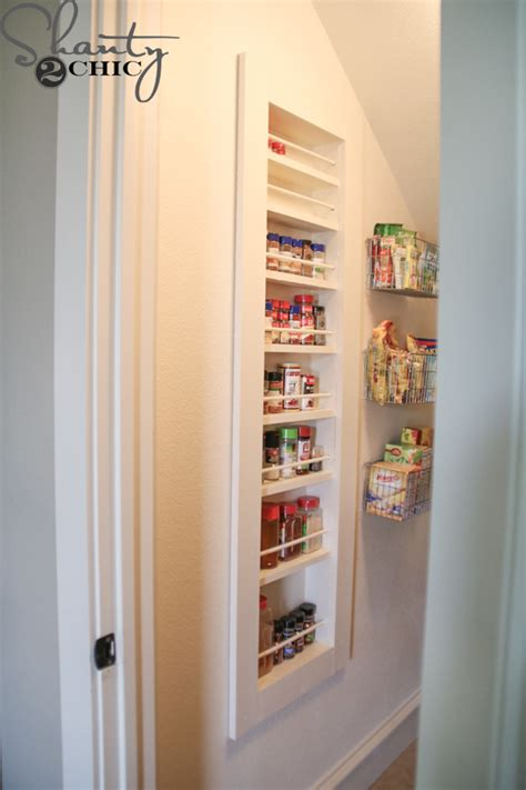 diy sliding spice rack diy built in spice rack shanty 2 chic