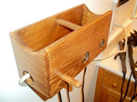 Diy Wood Hair Dryer Holder wood bathroom organizer curling iron hair dryer and straightener h