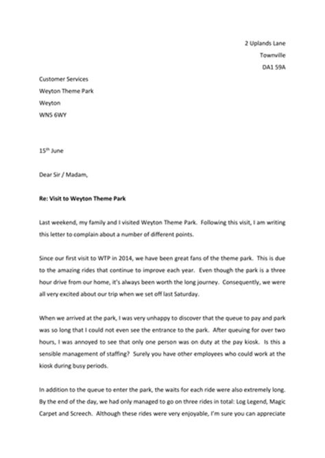 Complaint Letter About Poor Condition Of Park Formal Letters Of Complaint By Thrichmond Teaching Resources Tes