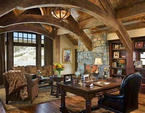 rustic home interior designs love the arches and stone open country rustic home office