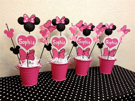 Minnie Mouse Birthday Decoration by Minnie Mouse Birthday Decorations Set Of 4 Centerpieces