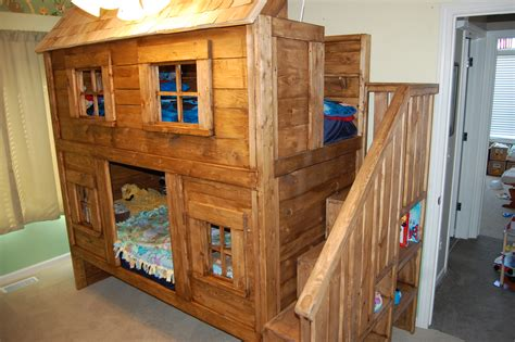 Ana White Rustic Cabin Bunk Bed Diy Projects Cabin Bunk Beds For