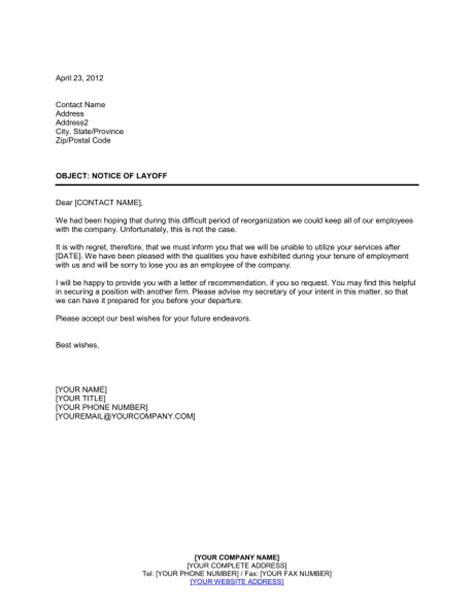 Recommendation Letter After Layoff Notice Of Layoff 2 Template Sle Form Biztree