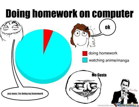 Homework Meme - doing homework on computer by skyewolf meme center