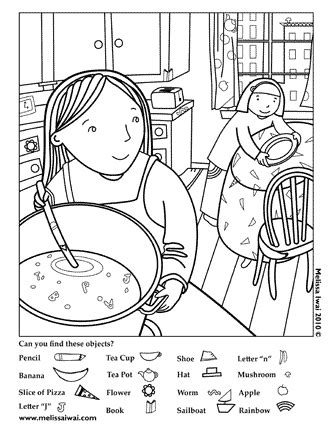 kitchen objects coloring pages free downloads melissa iwai