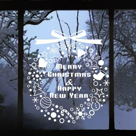 merry christmas happy new year window decal