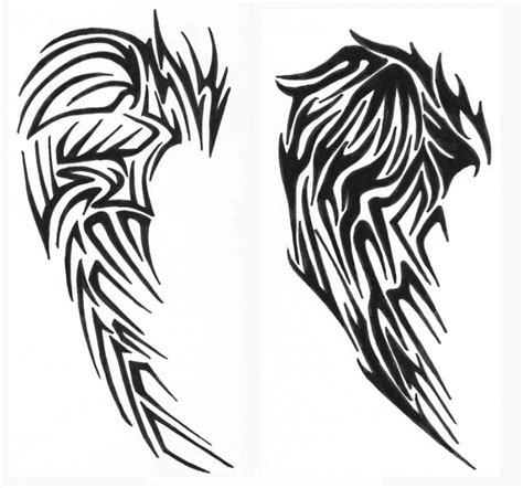 tribal angel tattoo fantastic tribal wings design