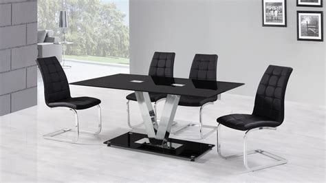 Glass Dining Table And Chair Sets 6 Seater Black Glass Dining Table And Chairs Homegenies