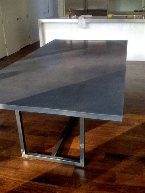 Polished Concrete Dining Table Polished Concrete Dining Table With Steel Base