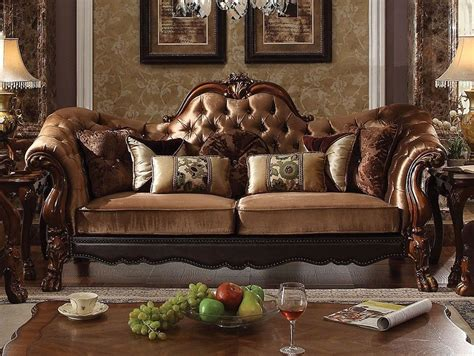 sofa dresden acme dresden sofa wood trim golden brown velvet usa