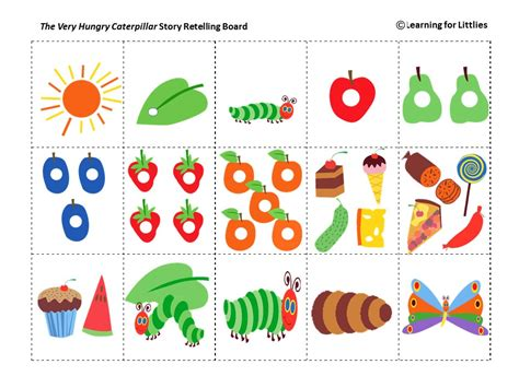 printable version of the very hungry caterpillar a colourful fun printable resource for use with the very