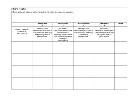 100 blank table template blank rubric doc 28641990